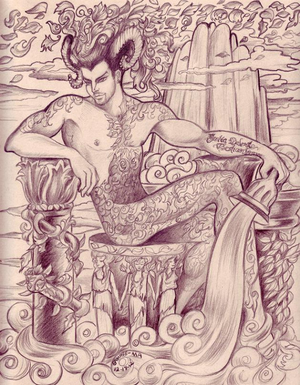 By @SammieMa on Twitter:  Adam Lambert as a Pan-Green Man like being. He is his new tattoo.The cartoons theme is life support through the arts. Media: #2 pencil, ebony pencil, and cream colored poster board.