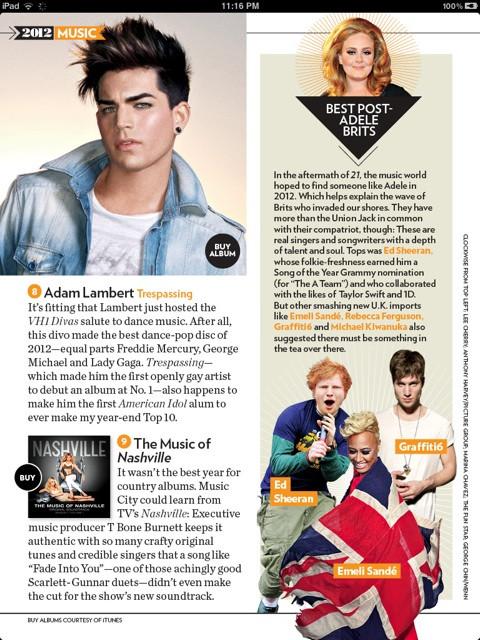 Top Music of 2012 - Trespassing by Adam Lambert #8 (People Mag 12/31 iPad edition) @adamlambert via @spreckles on Twitter
