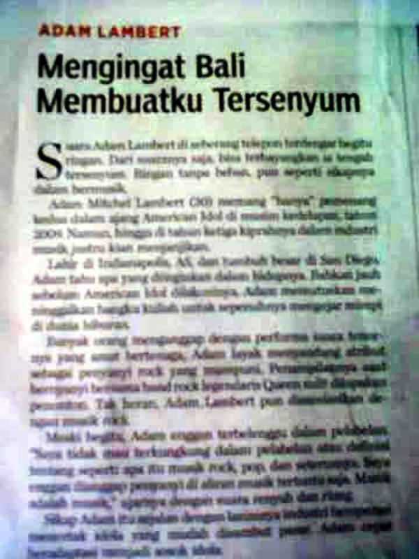 @dyahparama: ADAM LAMBERT Article in local Bali Newspaper! http://twitpic.com/bqn9s9 Plus http://twitpic.com/bqn9ry http://twitpic.com/bqn9s9