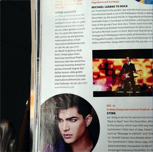@alexanderenrico: adamlambert in the in flight Garuda Indonesia Airline Magazine http://instagr.am/p/T1xx4_rop9/