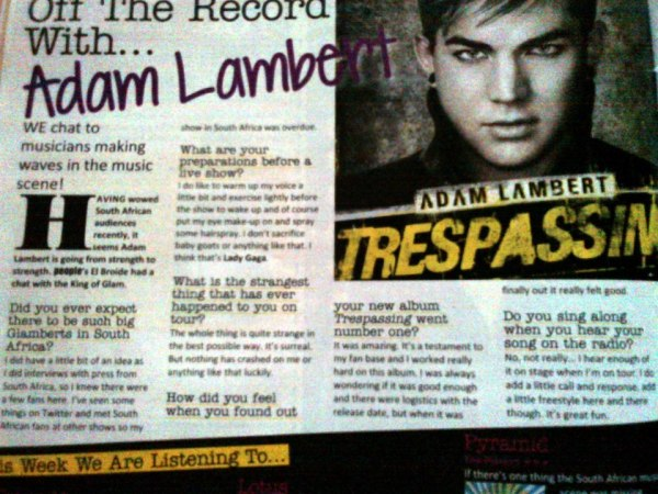 Via @AdamLambertSA: Mini @adamlambert interview in People South Africa magazine