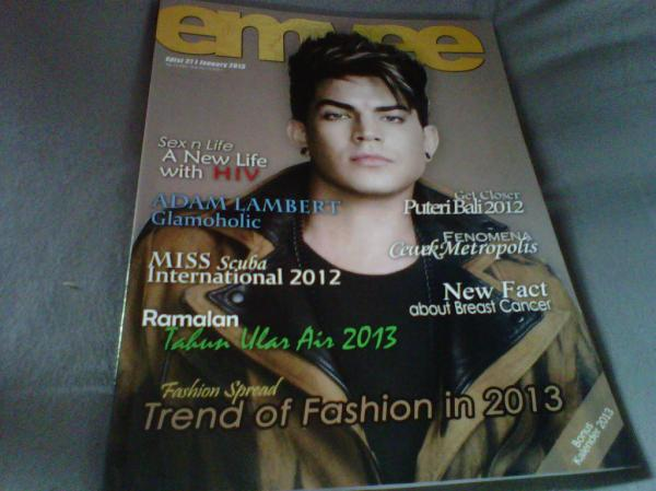 Via @mangayuuAdam Lambert on Emvee Magazine 27th Issue January 2013