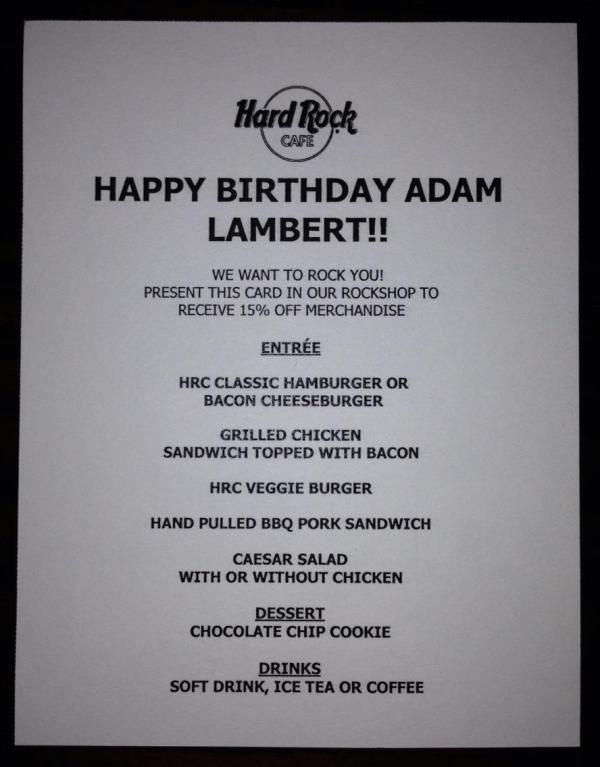@LAMBERTLUSTTonight's menu! Happy Birthday Adam Lambert! Hard Rock Cafe SF! #SFGLAMBERTS @adamlambert pic.twitter.com/Md4ZsOID