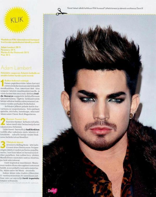 Via @illuxxia: Adam Lambert in Finnish Demi magazine 3/2013 (options -> download for a full size)http://s1113.beta.photobucket.com/user/illuxxia/media/scans/demi-2013-3.jpg.html
