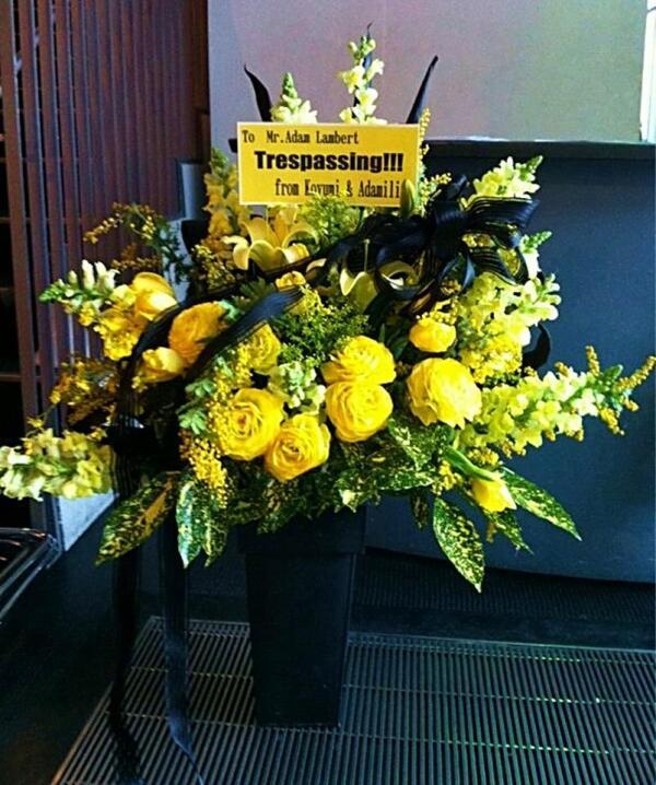 @koyumi_adam:@adamlambert Thanx for AMAZING Tokyo 3 days! I hope you enjoy our Japanese Adamily flowers (^-^)/ #weareglamilytour http://pic.twitter.com/Pm9Eu8RfFz