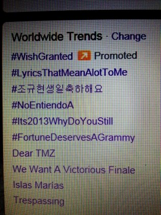 @TALCVids: Trespassing Trended World Wide on Twitter During the ADAM LAMBERT's Twitter Party today 2-2-13.