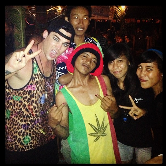 realadamlambert - With locals at Reggae bar on Gili T. The band was SOOOOOO good.