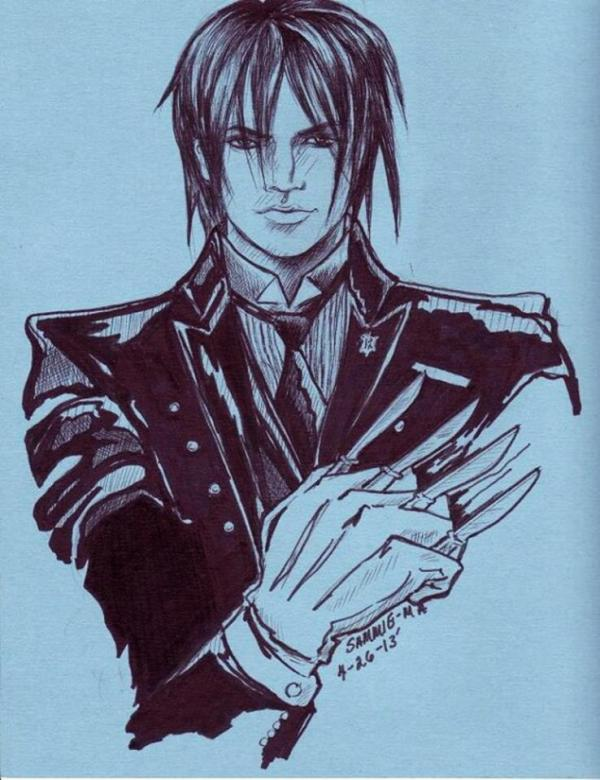 "@Sammiema cartoon: Adam Lambert as Sebastian the ""Black Butler."" Media: pen, marker #2 pencil on blue poster board scrap http://twitpic.com/cm4wuc"