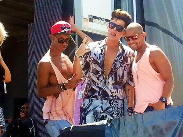 by @ScorpioBert: ADAM LAMBERT, Johnny & Terrance on Stage at Miami Pride Festival today, where Adam received the Key to the City. http://via.me/-bd4jiym