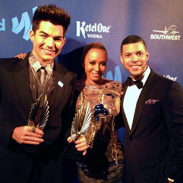 @glaad: @AdamLambert, @officialMelB, GLAAD's Wilson Cruz @wcruz73 backstage at the #glaadawards