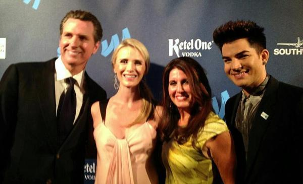 @glaad: Congrats Golden Gate Award recipient @GavinNewsom, wife Jennifer, @adamlambert's mom and Adam #glaadawards