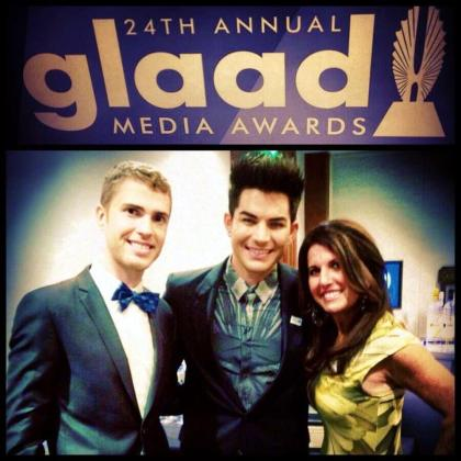 @ShaneBitney: Had an incredible evening at #glaadawards in San Fran w/ @wcruz73,@AdamLambert. I wore my @TieTheKnotOrg bow tie