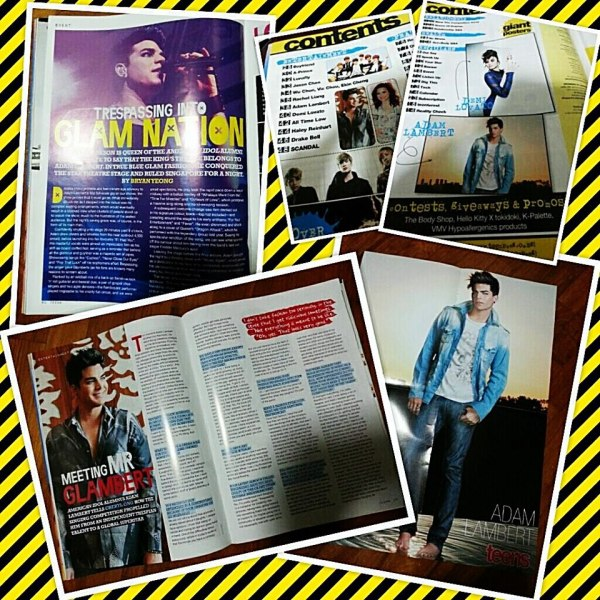 @GlambertPianist: Adam Lambert in 5 pages in Singapore's Teen magazine May edition. Plus a huge poster! Go get it!