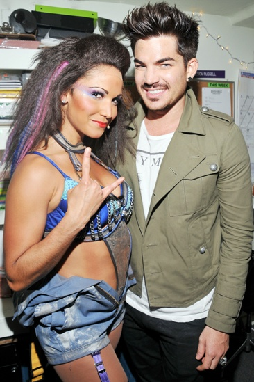 High school reunion! Adam Lambert strikes a pose with his prom date, Rock of Ages swing Jennifer Rias, backstage at the Helen Hayes Theatre.