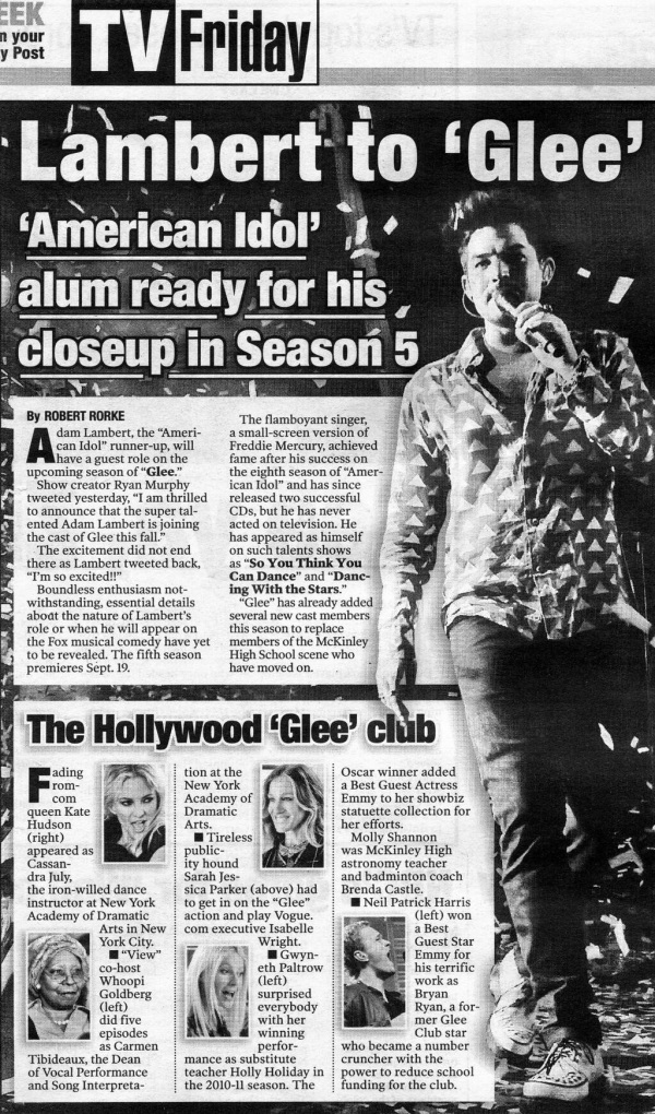"@Merrie_NY: ADAM LAMBERT in today's New York Post RE Glee 7/12/13 ""American Idol Alum Ready for his Closeup...."" http://pic.twitter.com/bgsrFy7F87"