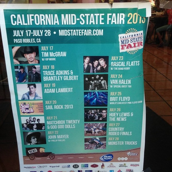 LambertLust: Adam Lambert performing at midstate fair advertisement on the front door of Papi's Homemade Mexican Food in downtown Paso Robles