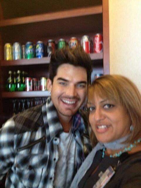 @bekkynet Soribella and Adam Lambert at our United Club today before leaving to LAX (Newark) (?)