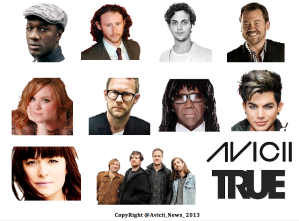 AVICII NEWS OFFICIAL 19h AVICII NEWS: Here's a picture of Just SOME of the very Talented Artists Featuring in @Avicii's Album #True! pic.twitter.com/IYrSfe5X0N
