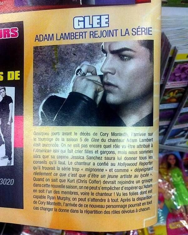 """@Man_Glambert: Article on Adam Lambert in One Mag about #Glee! (Article sur Adam Lambert dans le magazine français """"One"""" a propos de #Glee. Photo via @Man_Glambert) http://pic.twitter.com/PtHw6HZ7zF"""
