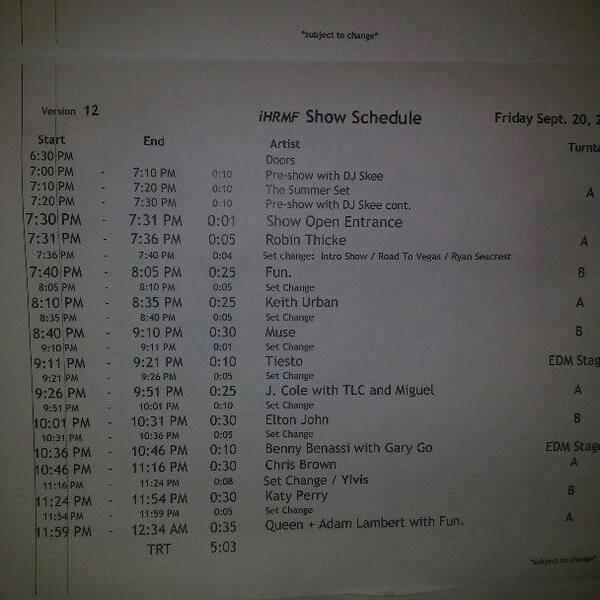 @JustAFanAL Fridays set list says Queen+ Adam lambert and Fun. pic.twitter.com/JMhSBuFLMx // NEW World Clock: http://tinyurl.com/lotvqun