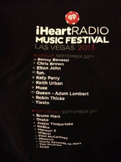 @ALAlwayz  Back of @iheartradio Music Festival shirt with @Queenwillrock & @adamlambert #Queenbert pic.twitter.com/ge8elI0NH0