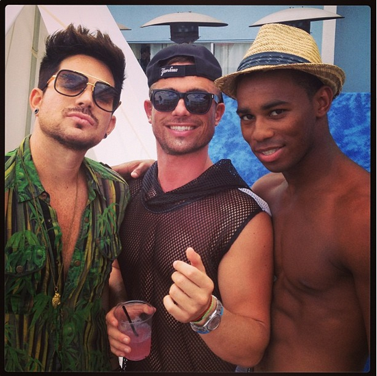 dillonapowell: @realadamlambert @mr_nicolasbru serving it up by the pool... #twerkrealness #labordayweekend #fresh