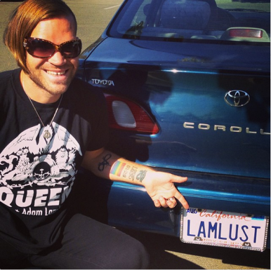 lambertlust: Finally we @mrslambertlust got our new license plates. The lady at the DMV asked is that for @adamlambert