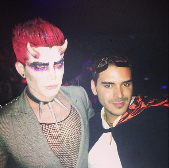 mdmolinari: My co hostess and mistress of the night @adamlambert #besthalloweenparty #bootsybellows @bootsybellows