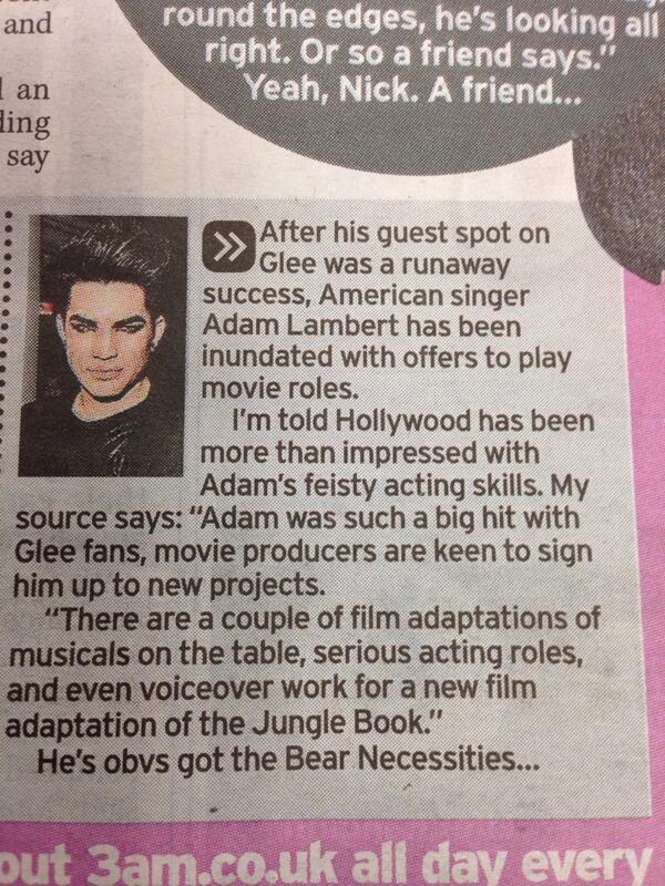 ‏@LambritsUK: Original scan from Daily Mirror (UK) on Adam Lambert's possible voiceover for the new Jungle Book film by @tillyfilly pic.twitter.com/nlP0qg9kKi