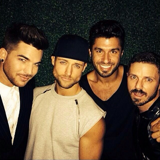 adamlambert: @simon_says___ @andylecompte @jakeshears and I at the Daft Punk post Grammy party