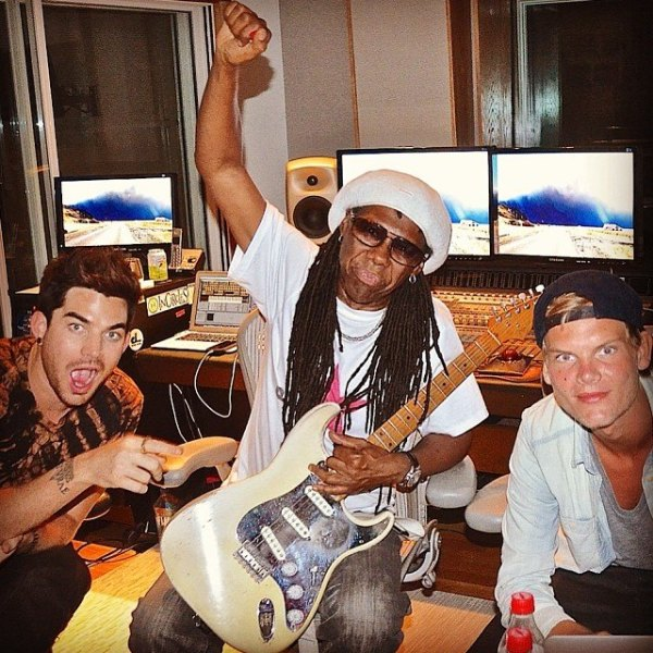 @nilerodgers: #Funky Flashback: #AdamLambert #NileRodgers (me) & #Avicii after finishing a new song http://fb.me/1NO2UxpbZ