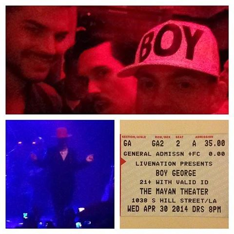 @plasticgod: Hung out with these talented blokes @adamlambert @samsparro at the @boygeorgeofficial concert. #karmachameleons http://instagram.com/p/neyI3LkIK8/