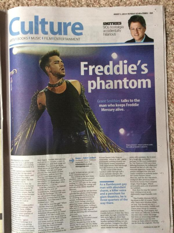 @YellowsistaBert Awesome article in today's Sunday Star Times (NZ) with Adam Lambert pic, two big pages: pic.twitter.com/15oS93SJCS