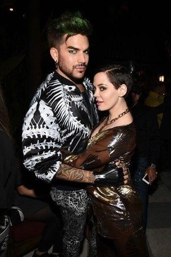 People.com Adam Lambert and Rose McGowan at the opening of Dsquared2's Los Angeles boutique on Tuesday.
