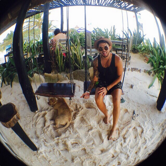 @adamlambert  ·  Tulum. Adelita beach bar. This dawg had one too many. http://instagram.com/p/xCr3-oONDz/