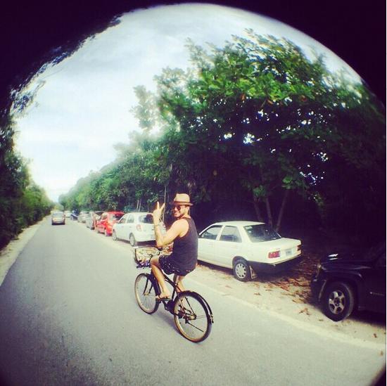 @adamlambert  ·  Tulum. Bike Ride. http://instagram.com/p/xCsI8ouNEr/