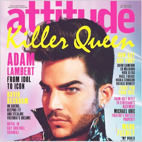 adamlambert: Thrilled to be a Killer Queen on the cover of @AttitudeMag this month!