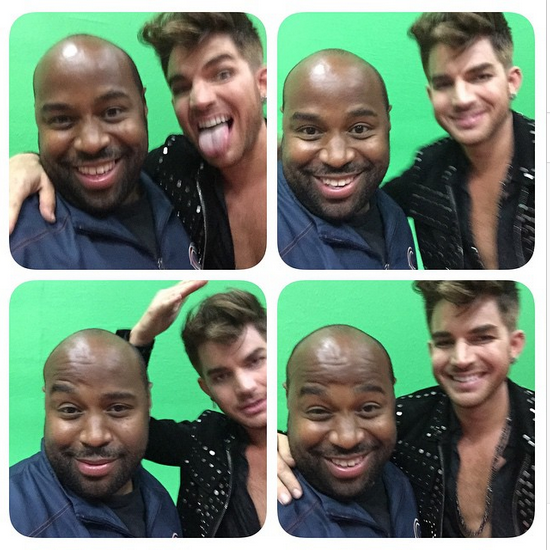 dumbasslame: Hanging out onset with Adam Lambert I think my hair look better tho #setlife #selfie #studs #sociallife #livingthedream #funtimes #followme #musicvideo