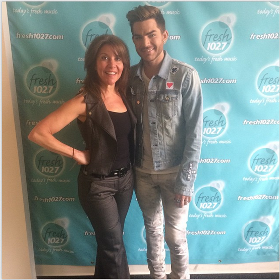 "vbiello: You never know who you'll find on a random visit upstairs @fresh1027ny. Adam Lambert, ""fresh"" off an interview with Kim and @canenewyork. Very sweet guy. Love his jeans!"
