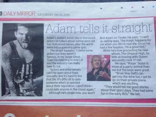 @xxmisswendyxx: Article in @DailyMirror @adamlambert Adam tells it straight 🇬🇧💕💕@shoshannastone :)))))))
