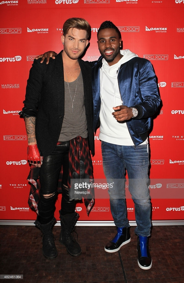 Adam Lambert and Jason Derulo arrive on the red carpet for the final gig of Nova's Red Room Global Tour held at The Marquee, Pyrmont in Sydney, New South Wales.