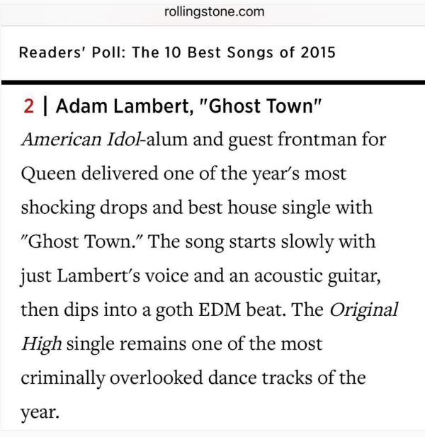 adamlambert: Thanks @rollingstone and all the voters who made #GhostTown the #2 fav song of 2015!
